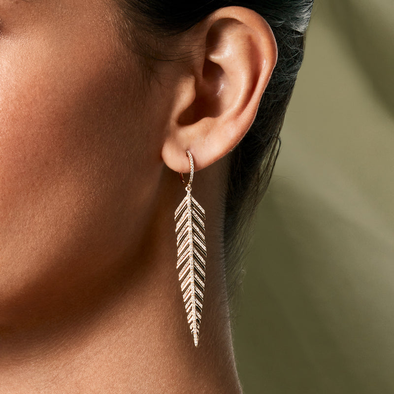 14KT Yellow Gold Diamond Feather Earrings