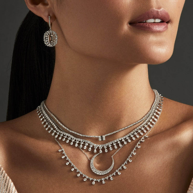 14KT White Gold Luxe Diamond Lunar Necklace
