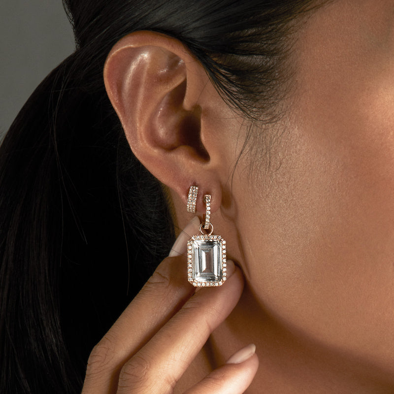 18KT White Gold Diamond Topaz Luxe Maelle Earrings