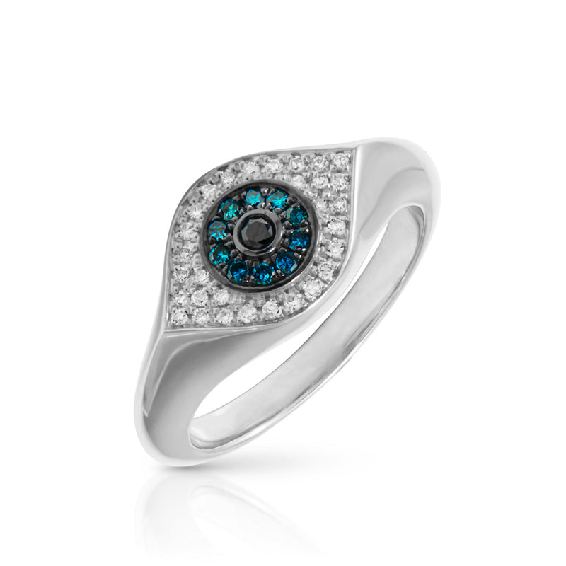 14KT White Gold Blue Diamond Evil Eye Signet Ring