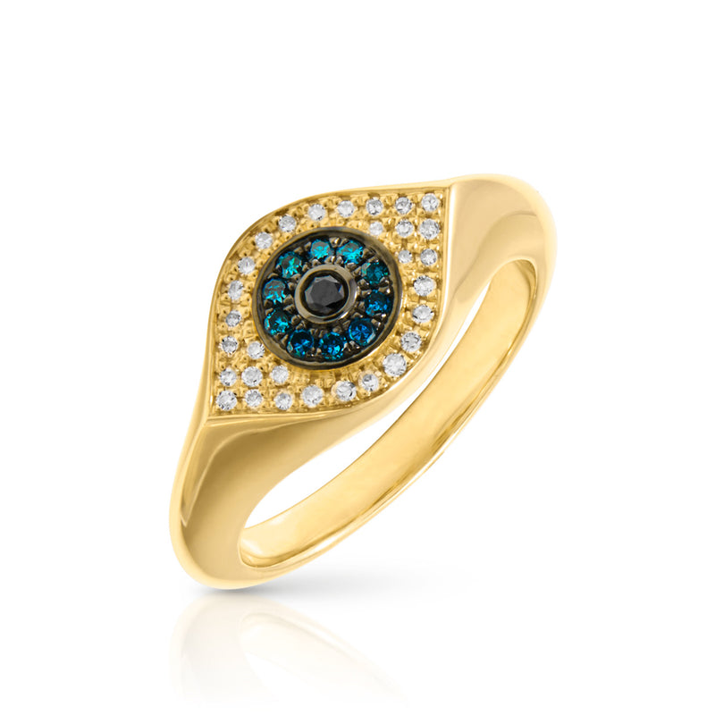 14KT Yellow Gold Blue Diamond Evil Eye Signet Ring