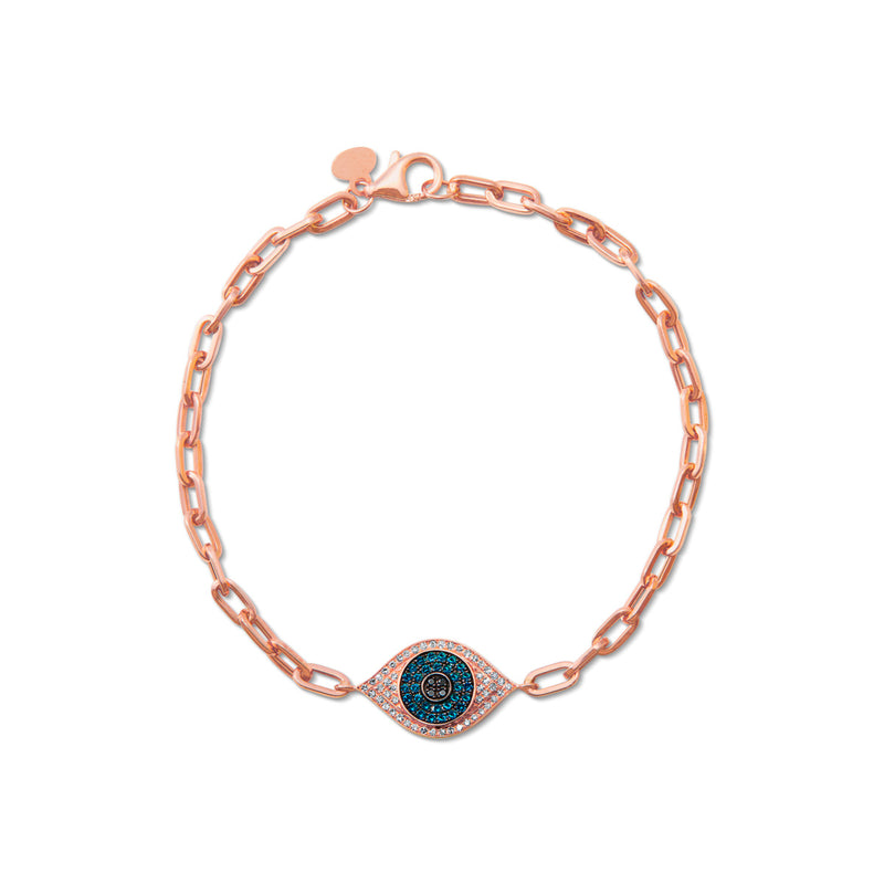 14KT Rose Gold Blue Diamond Evil Eye Chain Link Bracelet