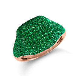 14KT Rose Gold Diamond Tsavorite Cushion Pinkie Ring