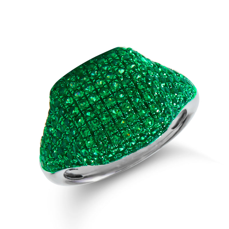 14KT White Gold Diamond Tsavorite Cushion Pinkie Ring