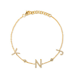 14KT Yellow Gold Diamond Personalized Initials Bracelet