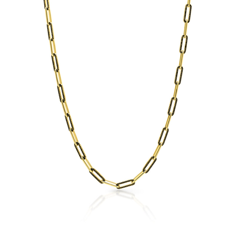 14KT Yellow Gold Black Diamond Paper Clip Link Necklace