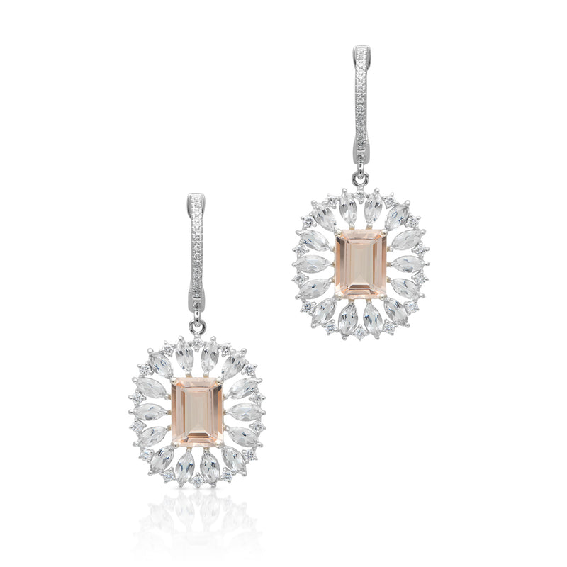 14KT White Gold Morganite Topaz Diamond Giselle Earrings