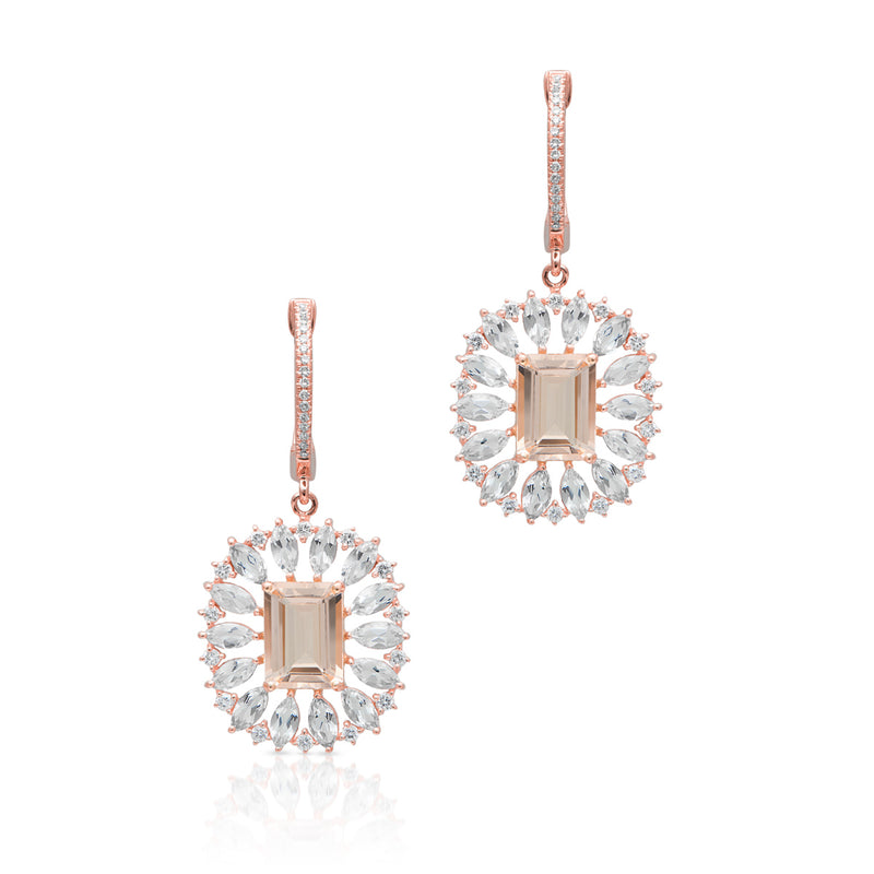 14KT Rose Gold Morganite Topaz Diamond Giselle Earrings