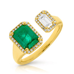 14KT Yellow Gold Emerald Diamond Amaris Ring