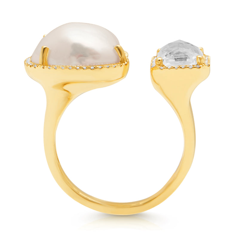 14KT Yellow Gold Baroque Pearl White Topaz Diamond Ring