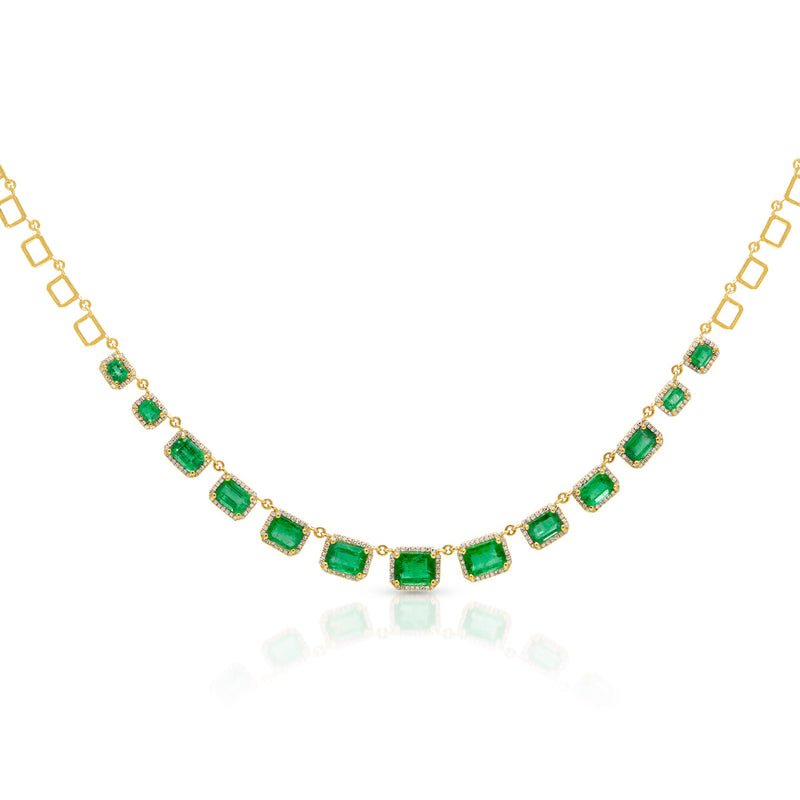 14KT Yellow Gold Emerald Diamond Imelda Necklace