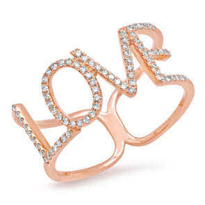 14KT Rose Gold Diamond Love Note Ring