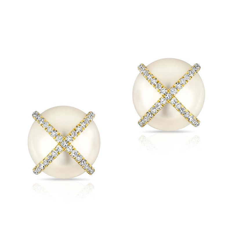 14KT Yellow Gold Diamond X Pearl Stud Earrings