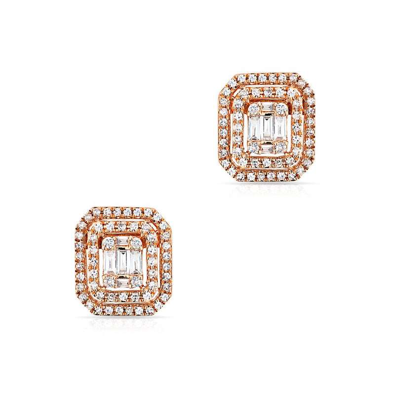 14KT Rose Gold Baguette Diamond Square Stud Earrings