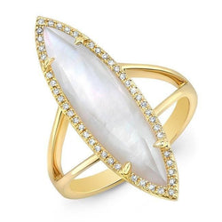 14KT Yellow Gold Diamond Mother of Pearl Small Celeste Ring
