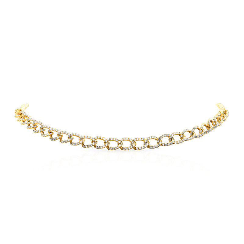 14KT Yellow Gold Diamond Brooke Chain Link Necklace