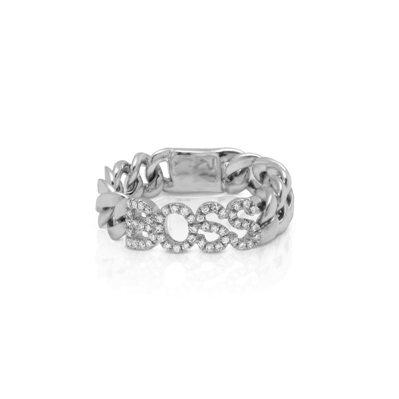 14KT White Gold Diamond Boss Chain Link Ring
