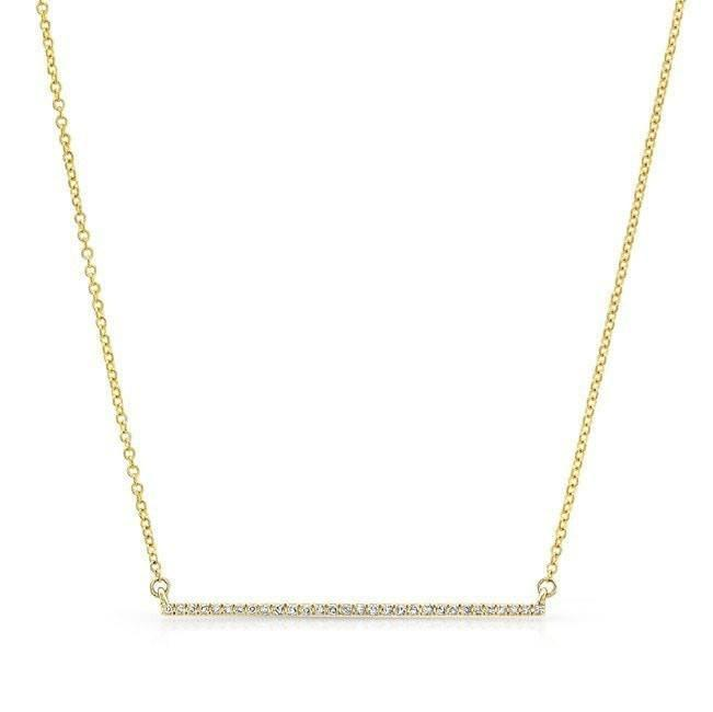 14KT Yellow Gold Diamond Thin Bar Necklace