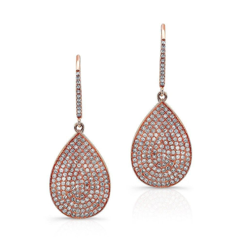14KT Rose Gold Diamond Medium Pear Shaped Earrings