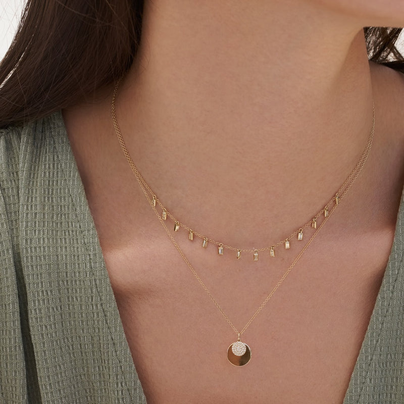 14KT Rose Gold Baguette Diamond Lorelei Necklace