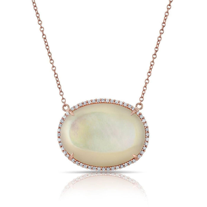 14KT Yellow Gold Mother of Pearl Diamond Necklace