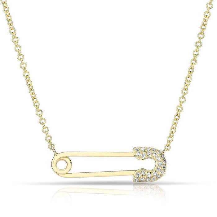 14KT Yellow Gold Diamond Safety Pin Necklace