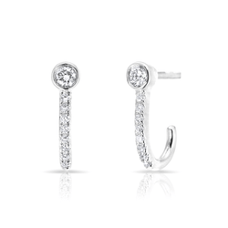14KT White Gold Diamond Hook Stud Earrings