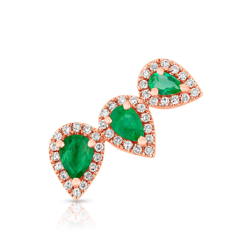 14KT Rose Gold Diamond Emerald Valis Ear Climber
