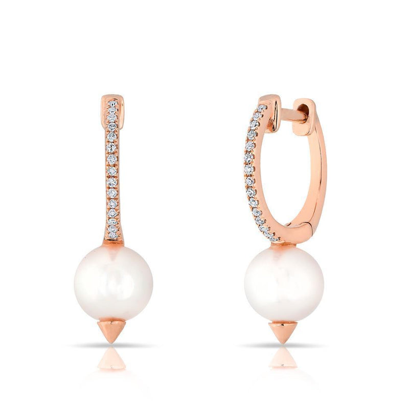 14KT Rose Gold Diamond Spiked Pearl Moriah Huggie Earrings