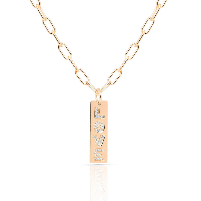 14KT Rose Gold Diamond Love Tag Charm