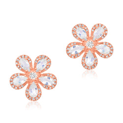 14KT Rose Gold Moonstone Diamond Flower Earrings