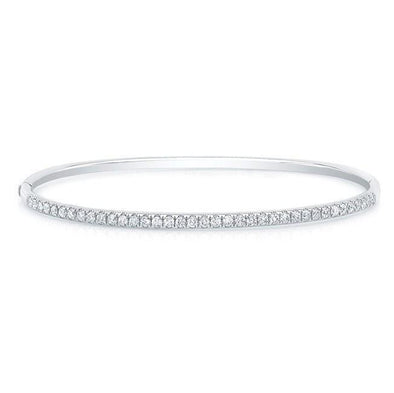 14KT White Gold Diamond Ellipse Bangle
