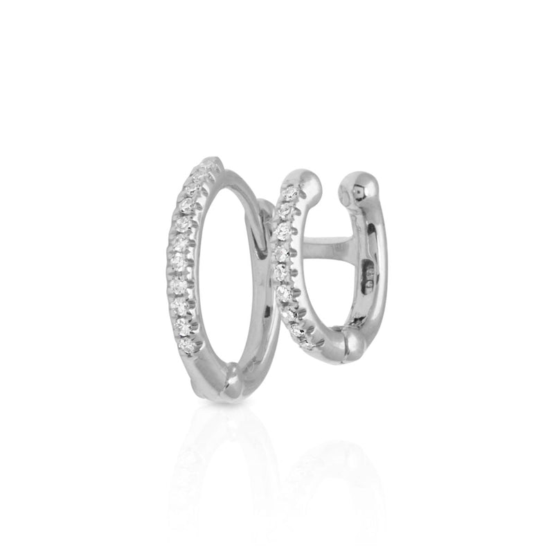 14KT White Gold Diamond Lola Cuff and Huggie Earring