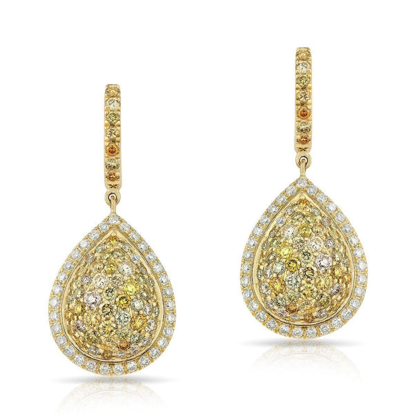 14KT Yellow Gold Colored Diamond Stella Pear Earrings