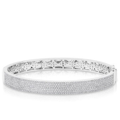 14KT White Gold Diamond Belle Half Pave Bangle