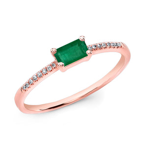 14KT Rose Gold Emerald Diamond Maddie Ring