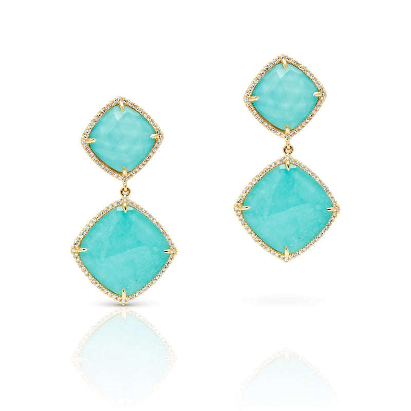 14KT Yellow Gold Turquoise Diamond Martine Earrings