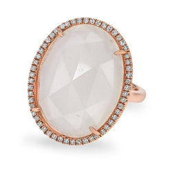 14KT Rose Gold Moonstone Diamond Oval Cocktail Ring