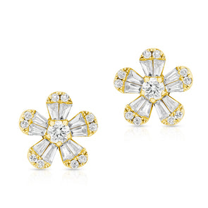 14KT Yellow Gold Baguette Diamond Luxe Daisy Stud Earrings
