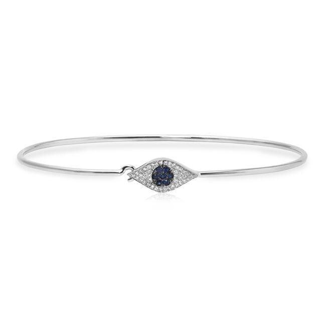 14KT White Gold Sapphire And Diamond Evil Eye Latch Bracelet