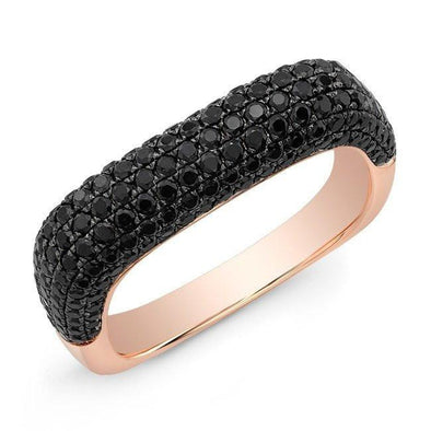 14KT Rose Gold Black Spinel Square Ring