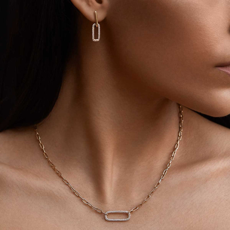 14KT Rose Gold Diamond Chain Link Maeve Necklace-Anne Sisteron