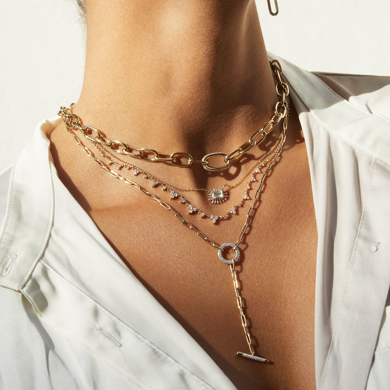14KT Rose Gold Diamond Janesse Chain Link Necklace-Anne Sisteron