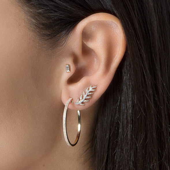 14KT White Gold Diamond Leaf Ear Climber