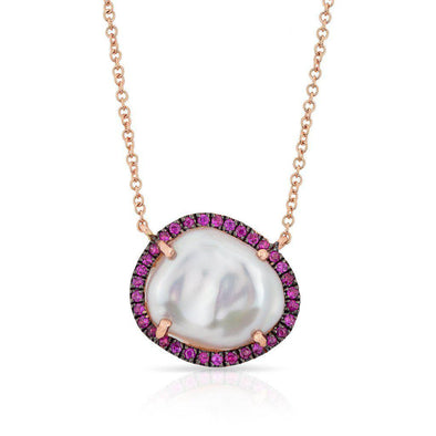 14KT Rose Gold Ruby and Pearl Necklace