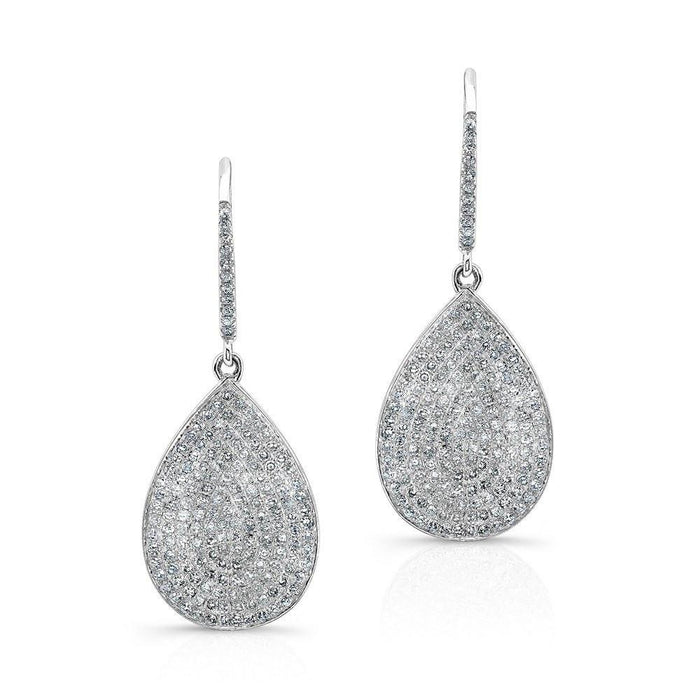 14KT White Gold Diamond Medium Pear Shaped Earrings