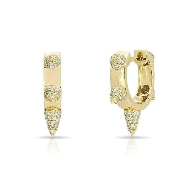 14KT Yellow Gold Diamond Punk Rock Huggie Earrings