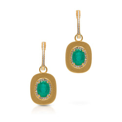 14KT Yellow Gold Emerald Diamond Maxine Earrings