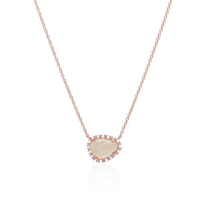 14KT Rose Gold Moonstone Diamond Luxe Jasmine Necklace