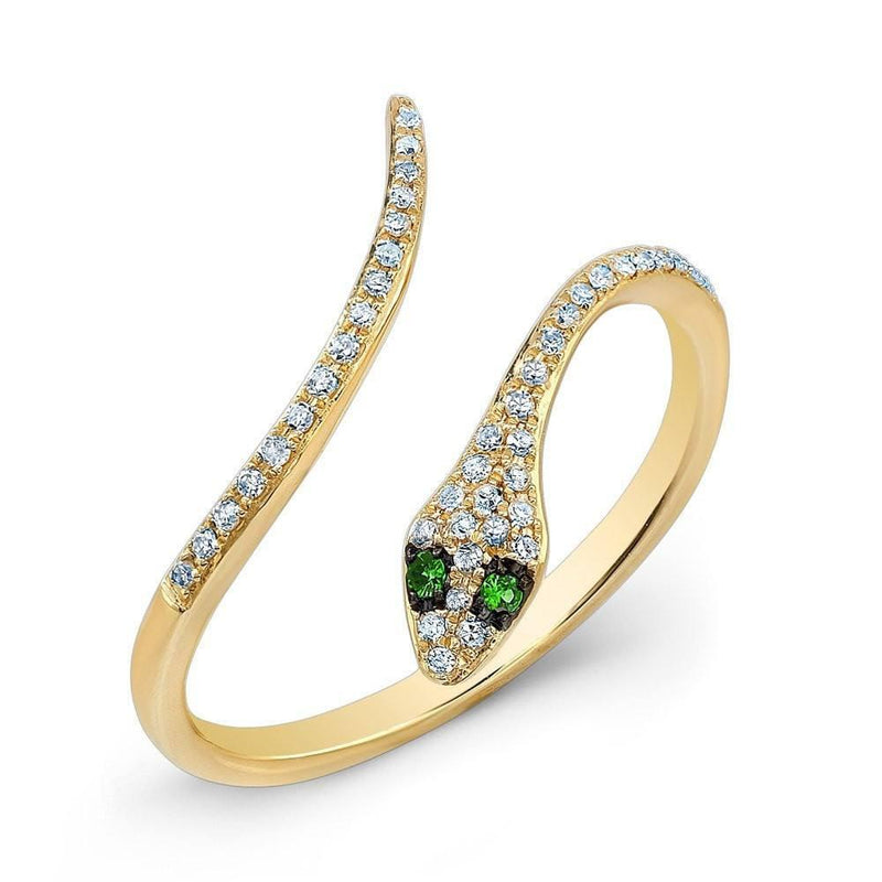 14KT Yellow Gold Diamond Slytherin Ring with Emerald Eyes